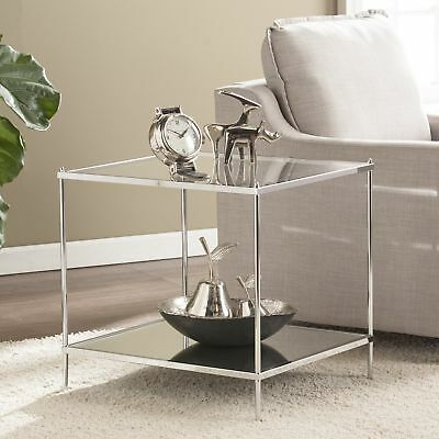 Silver Orchid Olivia Glam Mirrored End Table Chrome Regarding Silver Orchid Olivia Chrome Mirrored Coffee Cocktail Tables (View 7 of 25)