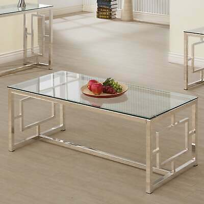 Silver Orchid Parker Satin Nickel Coffee Table Silver | Ebay For Silver Orchid Bardeen Round Coffee Tables (View 9 of 25)