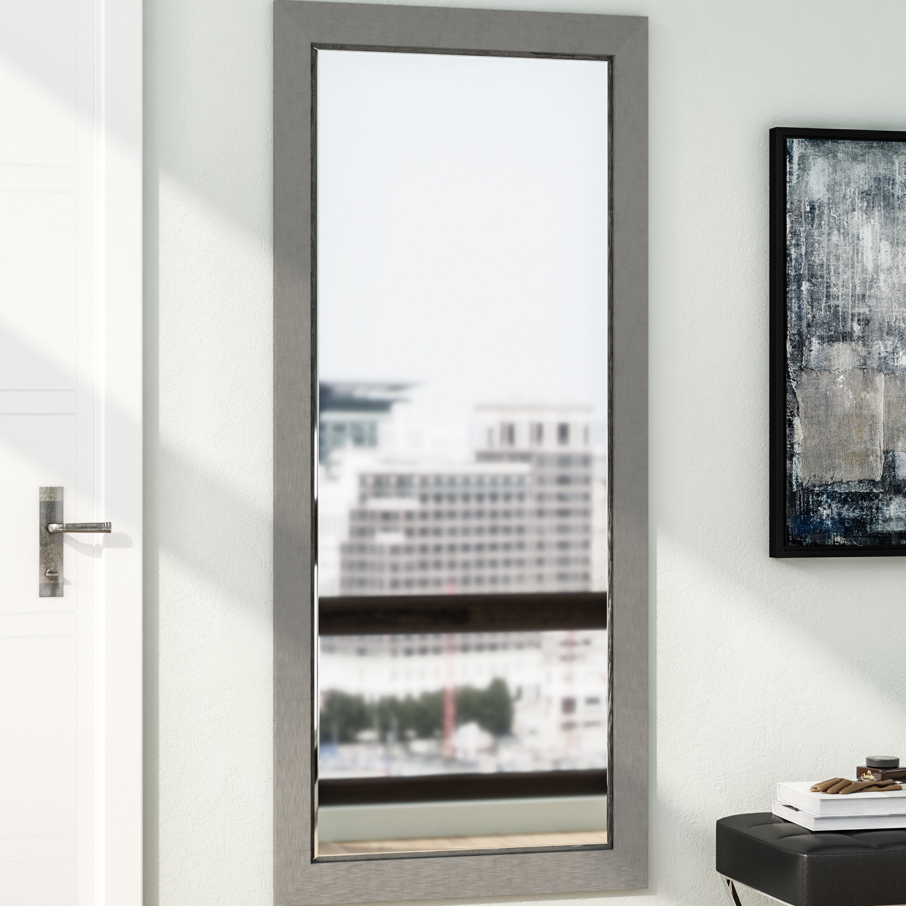 Silver Wood Beveled Wall Mirror Intended For Sartain Modern & Contemporary Wall Mirrors (View 15 of 20)