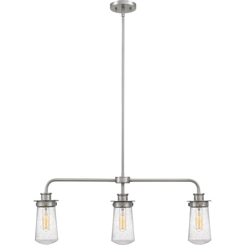 Simsbury 3 Light Kitchen Island Linear Pendant Pertaining To Novogratz Vintage 5 Light Kitchen Island Bulb Pendants (View 20 of 25)