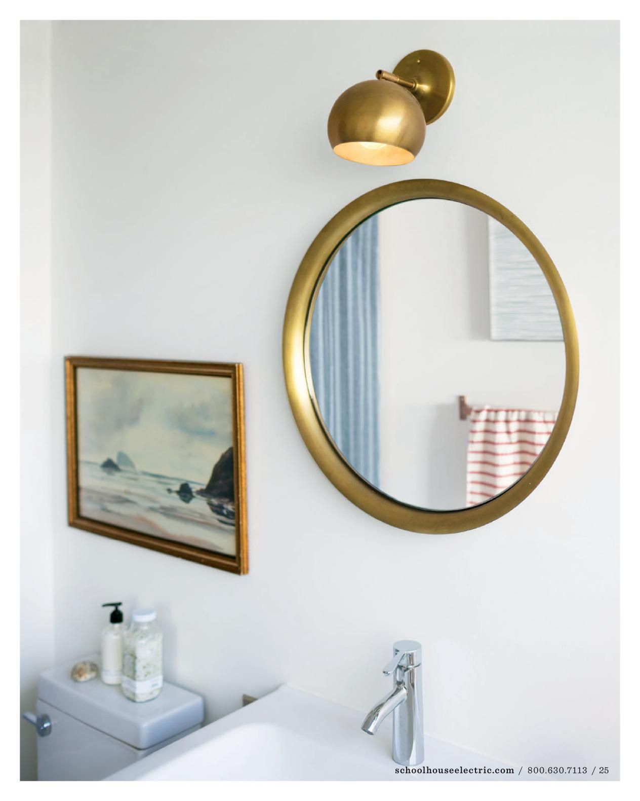 Single Sconce Above Mirror | Bath | Bathroom, Schoolhouse Pertaining To Arrigo Accent Mirrors (View 20 of 20)