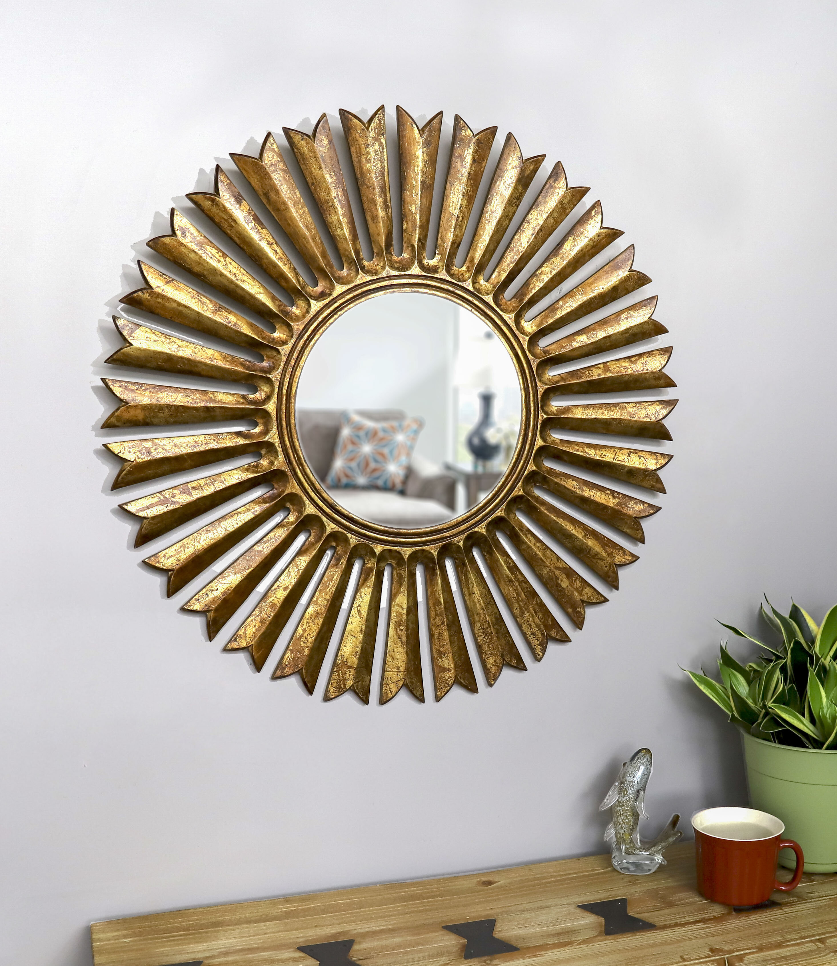 Soleil Eclectic Accent Mirror Throughout Harbert Modern And Contemporary Distressed Accent Mirrors (Image 18 of 20)