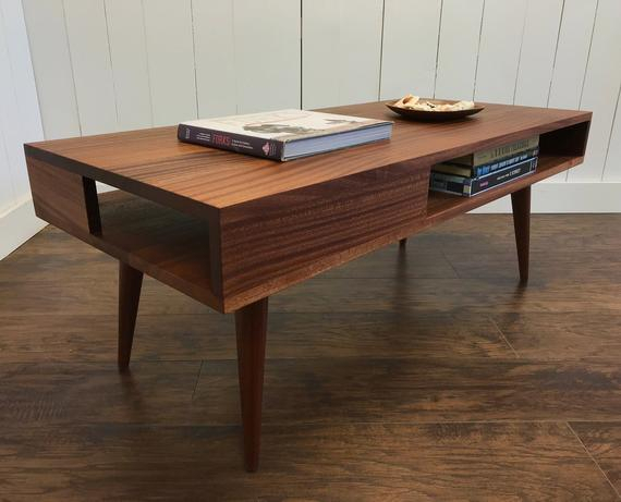 Solid Mahogany Coffee Table. Thin Man Mid Century Modern Coffee Table With Storage (View 48 of 50)