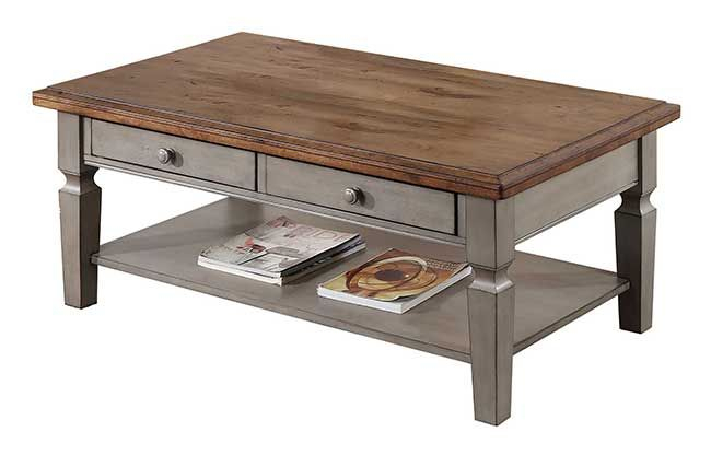 Solid Parawood Barnwell Coffee Table In Rich Grey & Brown Two Tone Finish Inside Shaker Unfinished Solid Parawood Tall Coffee Tables (View 17 of 50)