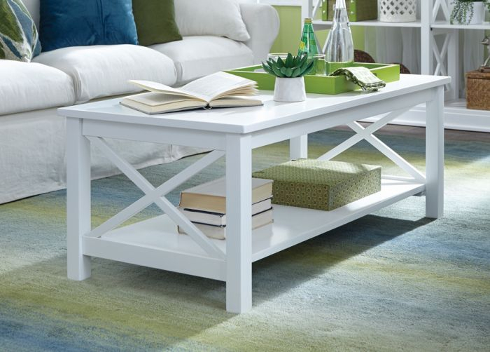 Solid Parawood Hampton Coffee Table In White Finish With Unfinished Solid Parawood Hampton Coffee Tables (Image 20 of 25)