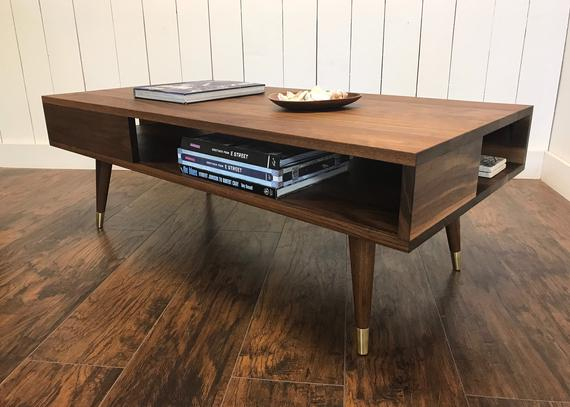 Solid Walnut Coffee Table. Thin Man Mid Century Modern Coffee Table With Storage (View 30 of 50)