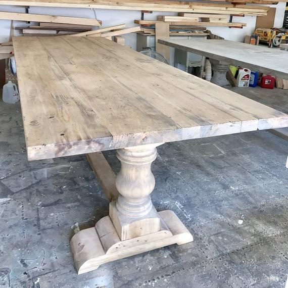 Solid Wood Handmade Pedestal Trestle Table | Vineyard Dining With Regard To Handmade Whitewashed Stripped Wood Tables (Image 20 of 25)