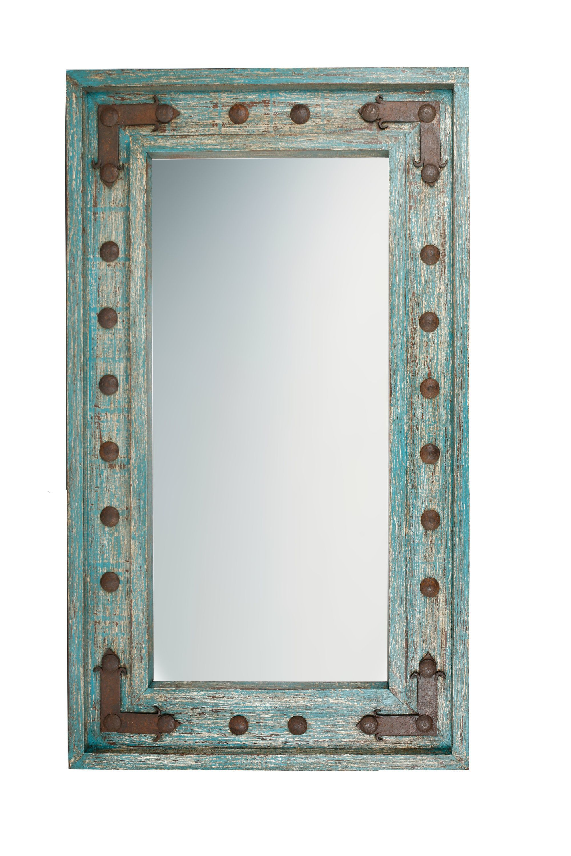 Soluna Rustic Mirror Wood Mexican 20X34 Distressed Turquoise With Lajoie Rustic Accent Mirrors (View 9 of 20)