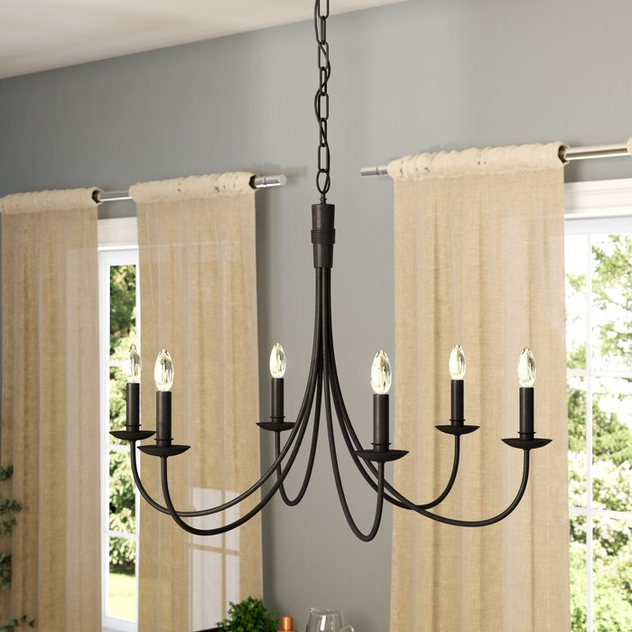 Souders 6 Light Candle Style Chandelier With Regard To Hamza 6 Light Candle Style Chandeliers (View 12 of 20)