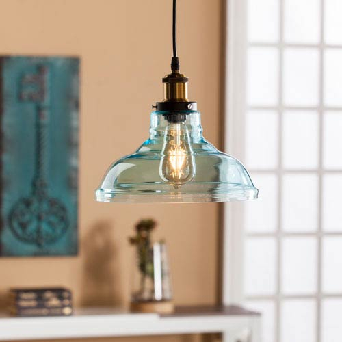 Southern Enterprises Gracelyn Colored Glass Bell Pendant Lamp – Soft Aqua In Gracelyn 8 Light Kitchen Island Pendants (View 22 of 25)