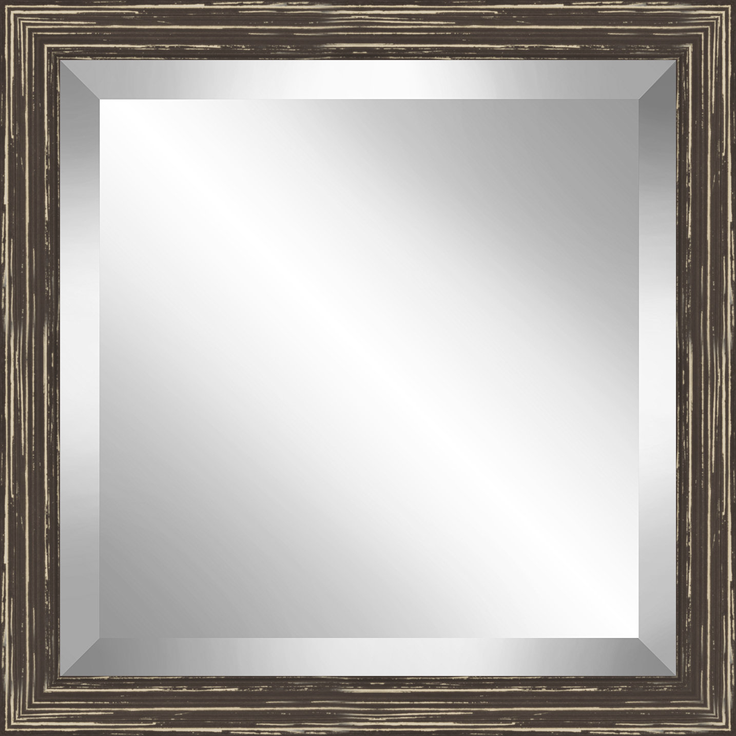 Square Distressed Wooden Beveled Plate Accent Mirror With Longwood Rustic Beveled Accent Mirrors (Image 14 of 20)