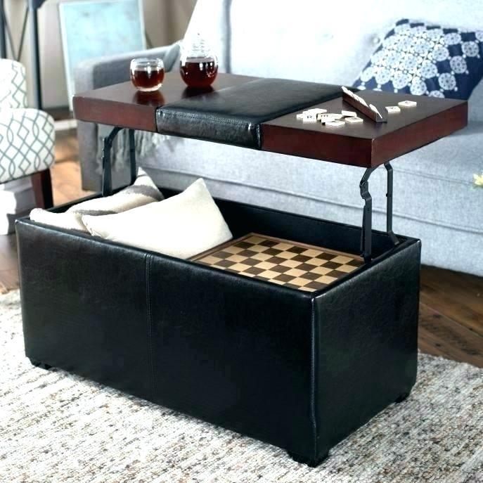 Square Tufted Leather Ottoman Storage Tuft – Atomgroup Regarding Lennon Pine Square Storage Ottoman Coffee Tables (Image 19 of 25)