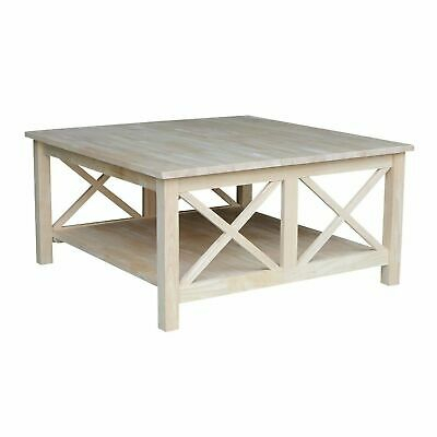 Square Unfinished Solid Wood Coffee Table With Bottom Shelf | Ebay With Unfinished Solid Parawood Square Coffee Tables (View 25 of 25)