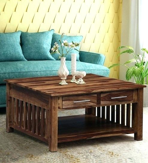 Square Wood Coffee Tables – Longmenexpress (View 7 of 25)