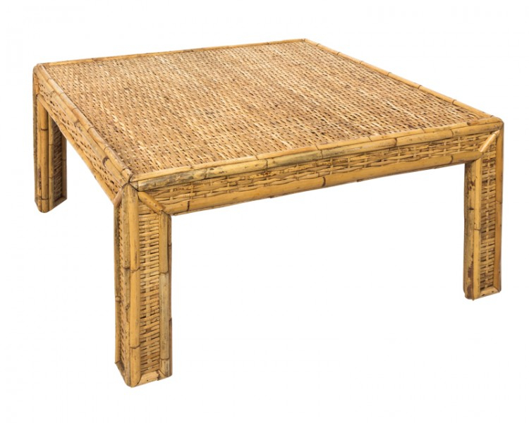 Square Woven Rattan Mid Century Modern Coffee Table In Solid Hardwood Rectangle Mid Century Modern Coffee Tables (View 25 of 50)