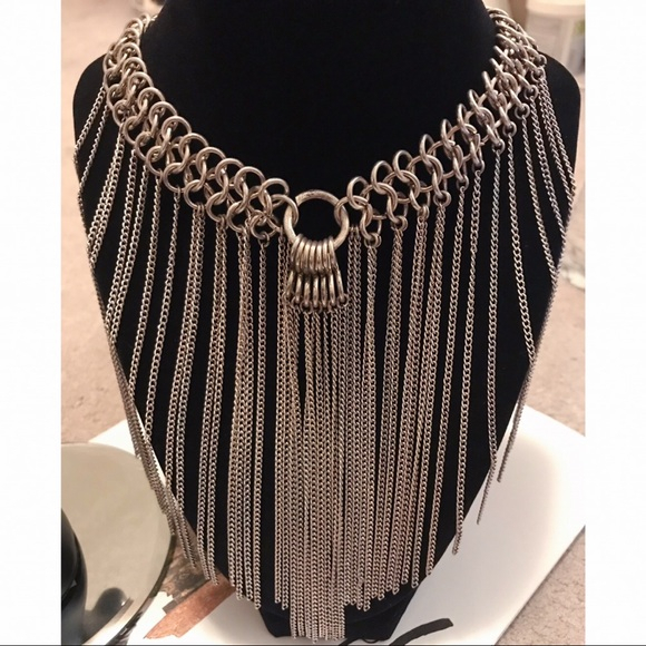 Sterling Silver Fringe Gothic Statement Necklace Intended For Berenice 3 Light Cluster Teardrop Pendants (View 25 of 25)