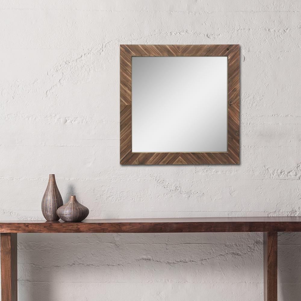 Stonebriar Collection Square Wooden Decorative Wall Mirror In Lidya Frameless Beveled Wall Mirrors (Image 17 of 20)