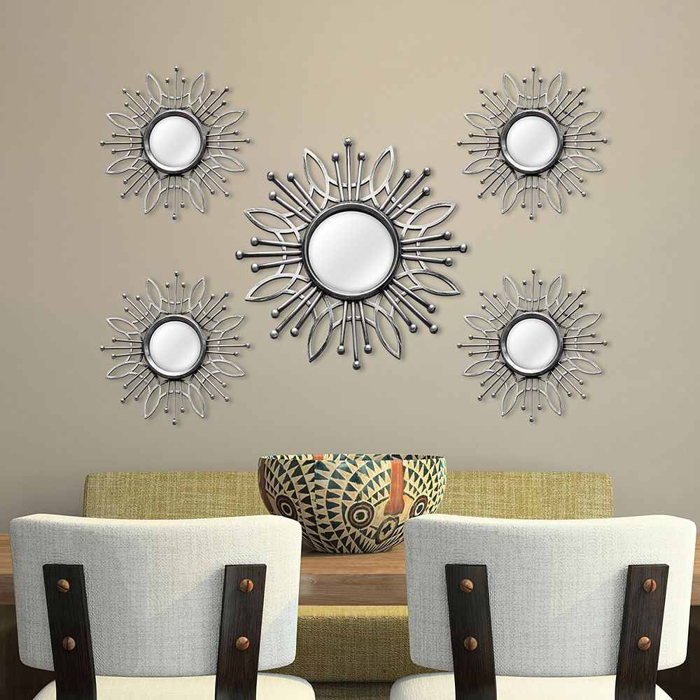 Stratton Home Decor Burst Wall Mirror 5 Piece Set In 2019 With Regard To Bruckdale Decorative Flower Accent Mirrors (View 13 of 20)