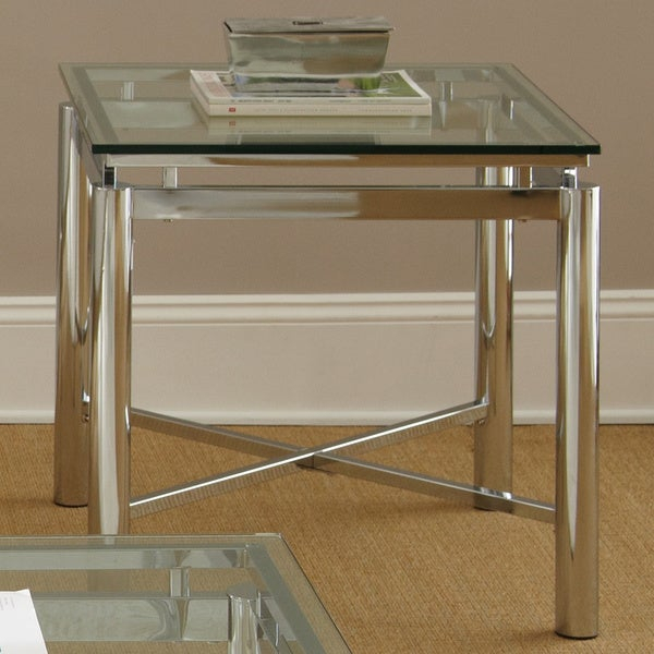 Strick & Bolton Jules Chrome And Glass End Table Intended For Strick & Bolton Jules Chrome And Glass Coffee Tables (View 4 of 25)