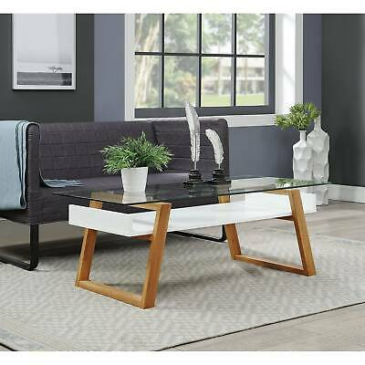 Strick & Bolton Luella Two Tone Bamboo And Glass Coffee White 95285421596 | Ebay Inside Strick & Bolton Jules Chrome And Glass Coffee Tables (View 13 of 25)
