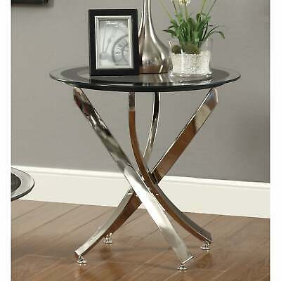 Strick & Bolton Mikeshin Chrome Glass End Table – (View 10 of 25)