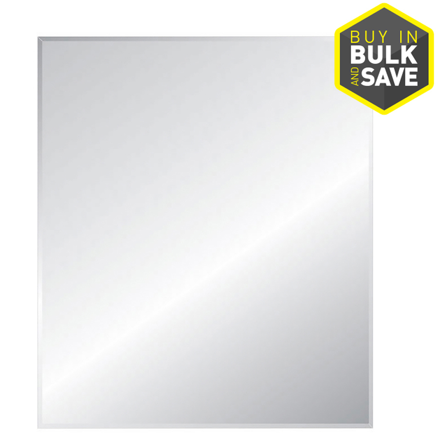 Style Selections 30 In X 36 In Silver Polished Rectangle Frameless Traditional Wall Mirror With Regard To Traditional Frameless Diamond Wall Mirrors (View 18 of 20)