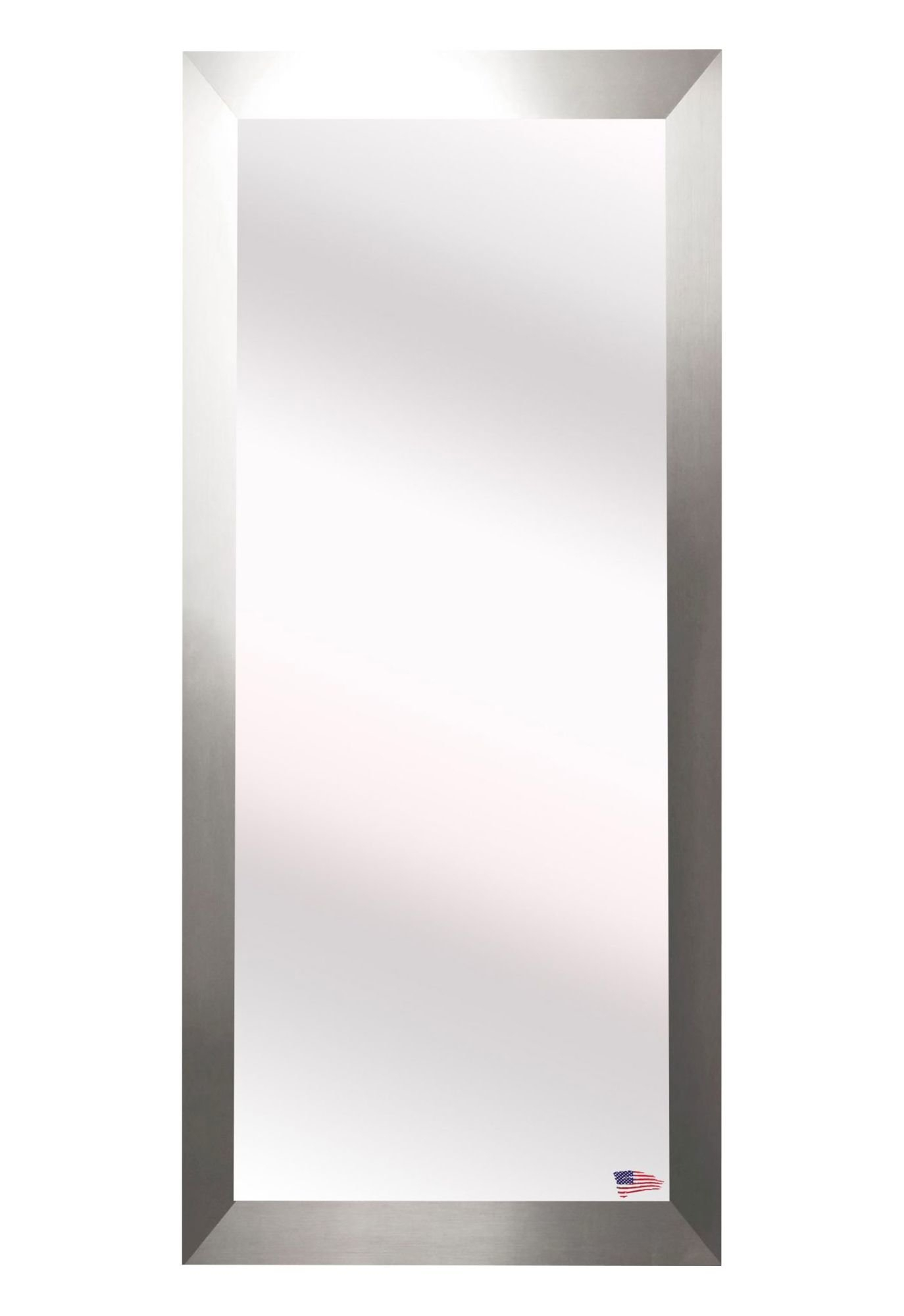 Suddenly Brushed Nickel Wall Mirror Loree Fini #16196 In Hogge Modern Brushed Nickel Large Frame Wall Mirrors (Image 17 of 20)