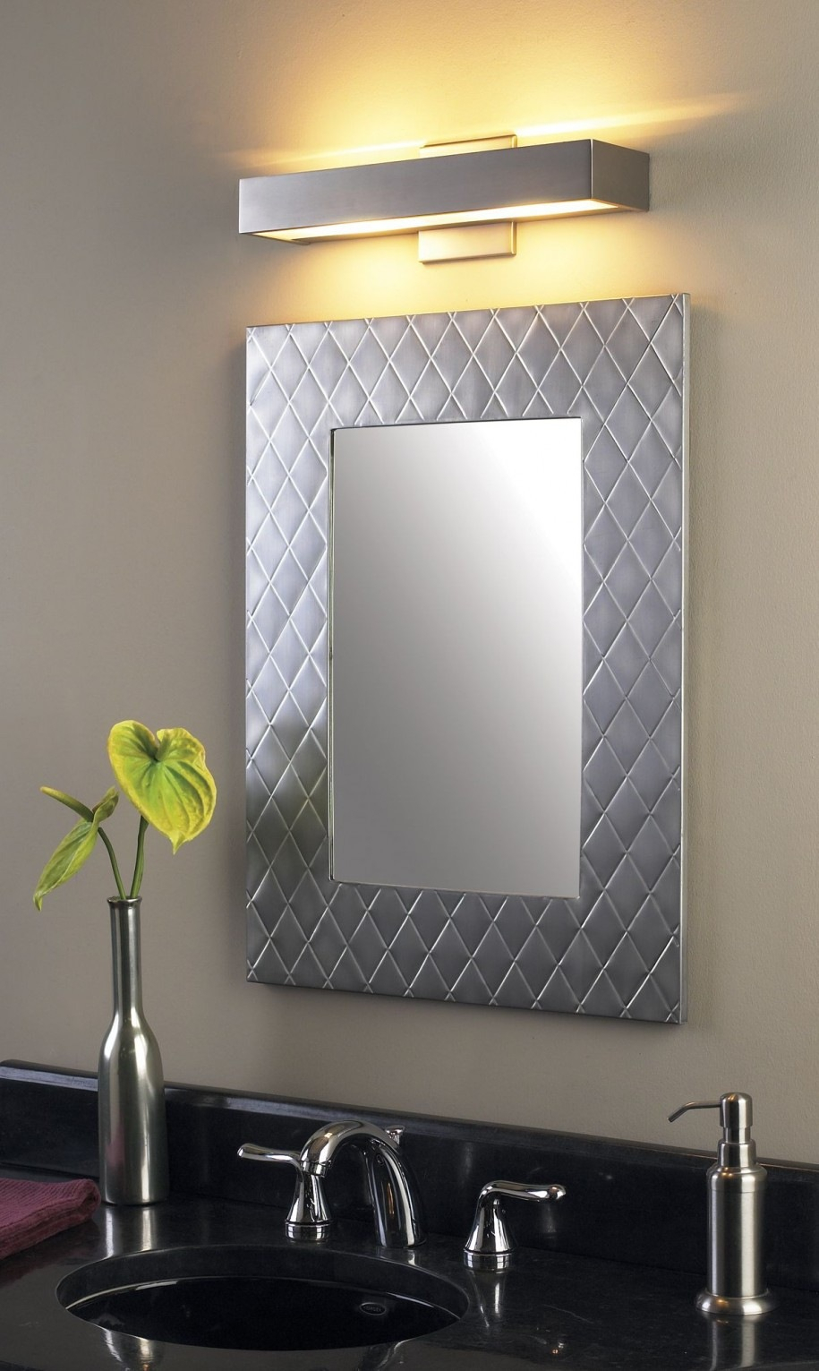 Suddenly Brushed Nickel Wall Mirror Loree Fini #16196 Inside Hogge Modern Brushed Nickel Large Frame Wall Mirrors (View 13 of 20)