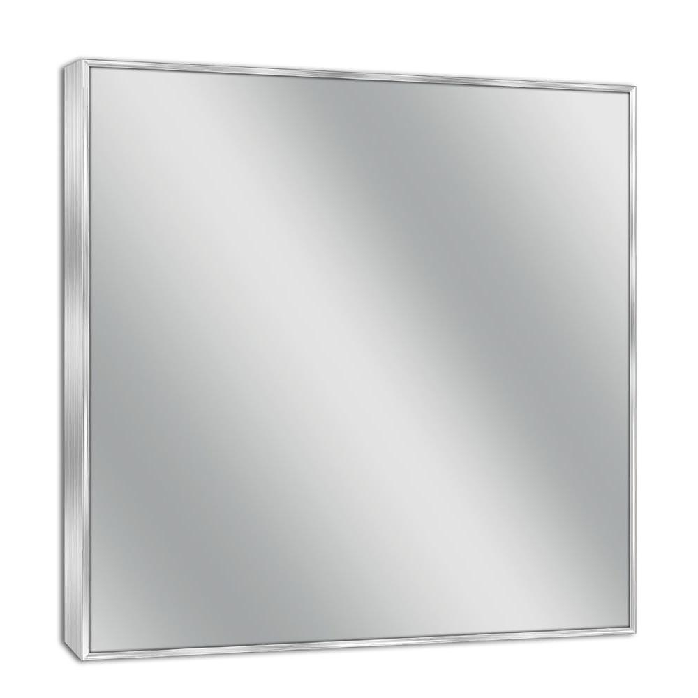 Suddenly Brushed Nickel Wall Mirror Loree Fini #16196 Throughout Hogge Modern Brushed Nickel Large Frame Wall Mirrors (View 8 of 20)