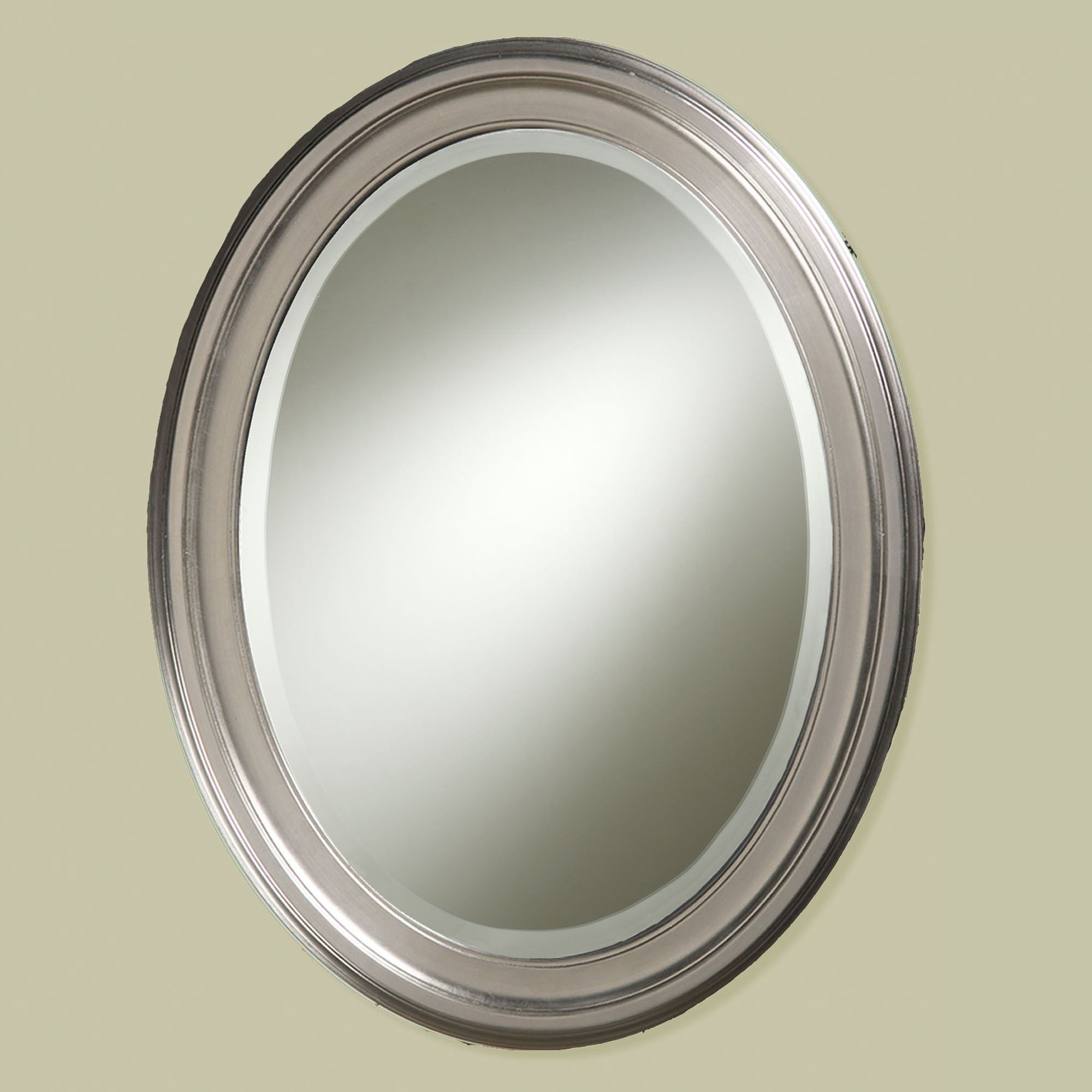Suddenly Brushed Nickel Wall Mirror Loree Fini #16196 Within Hogge Modern Brushed Nickel Large Frame Wall Mirrors (View 15 of 20)