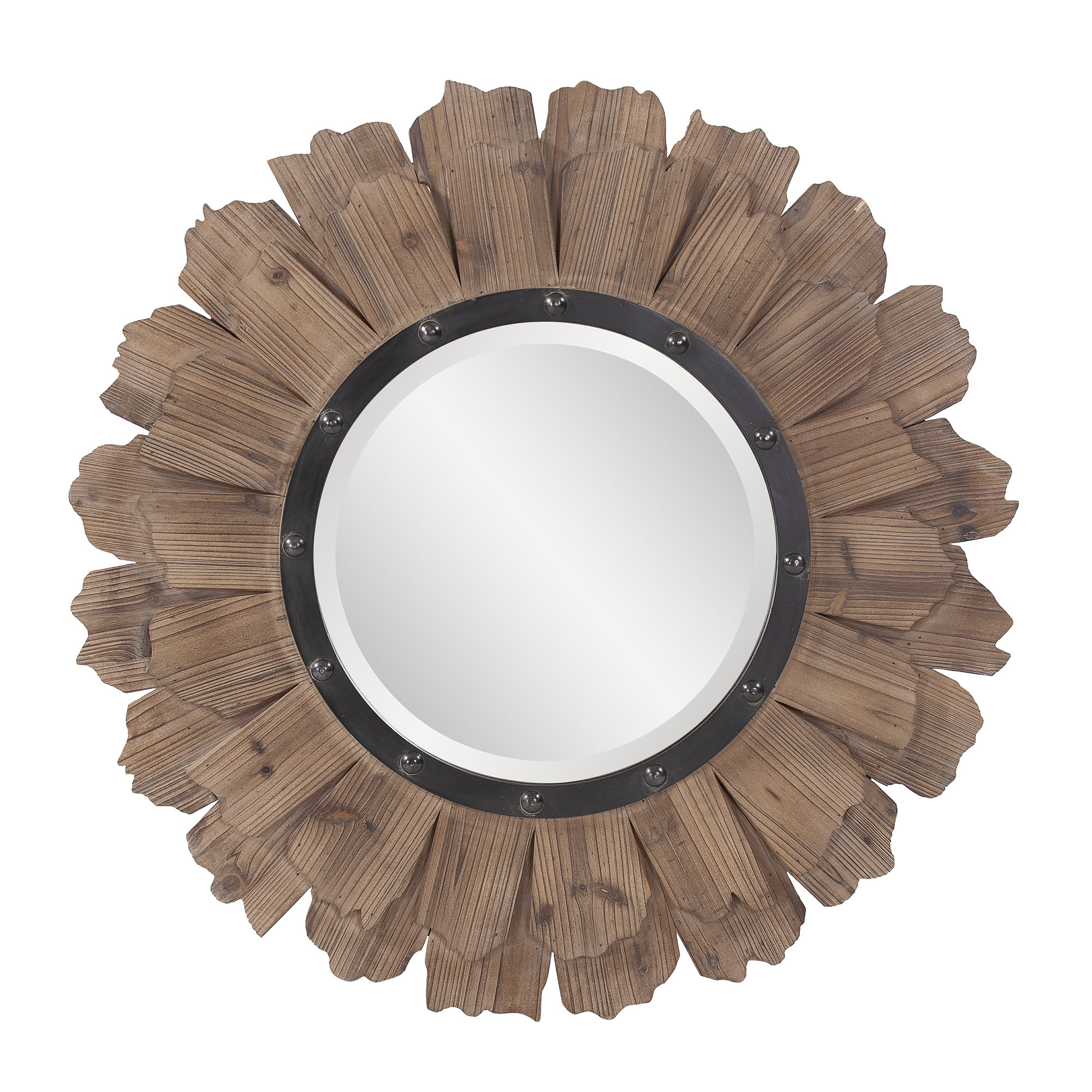 Sunburst Accent Mirror Intended For Perillo Burst Wood Accent Mirrors (Image 18 of 20)
