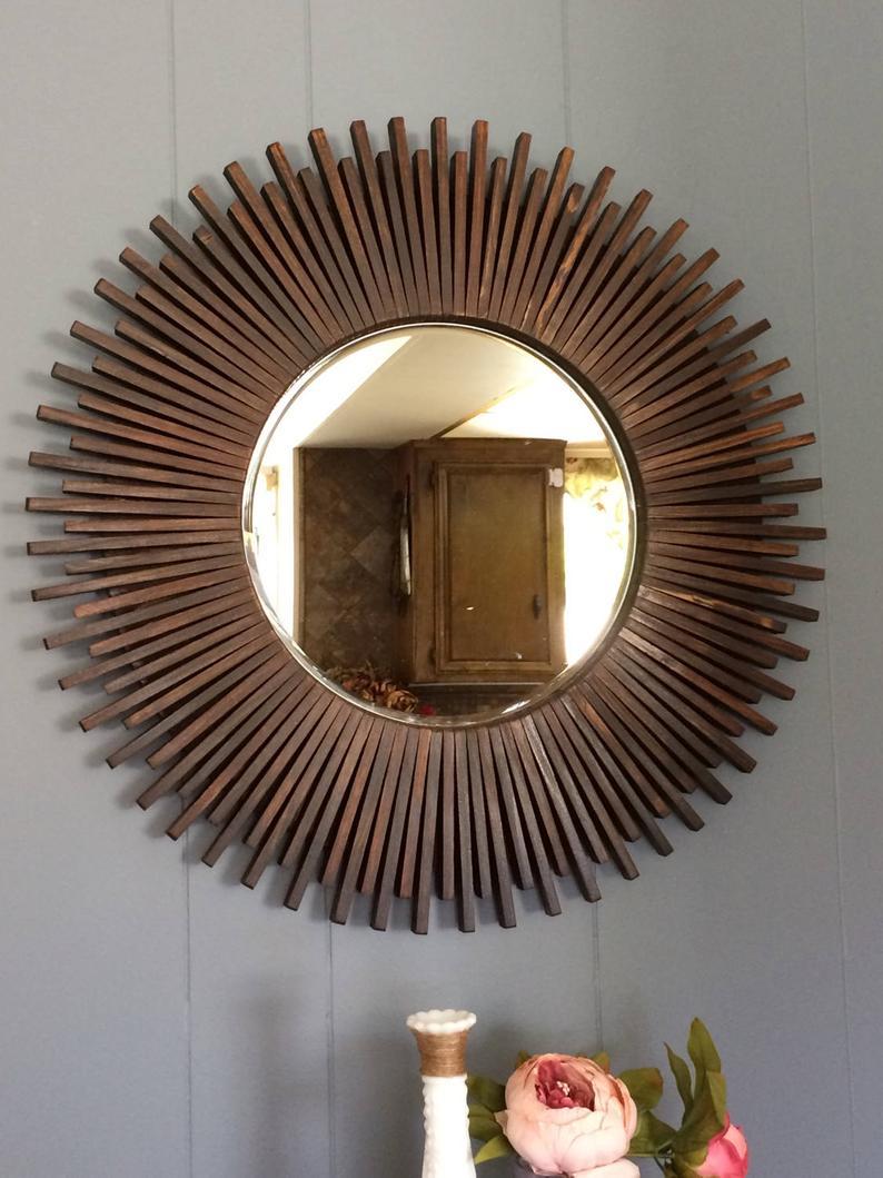 "Sunburst Round Wall Mirror Wood Dark Walnut Color 23"" Throughout Deniece Sunburst Round Wall Mirrors (Image 13 of 20)"