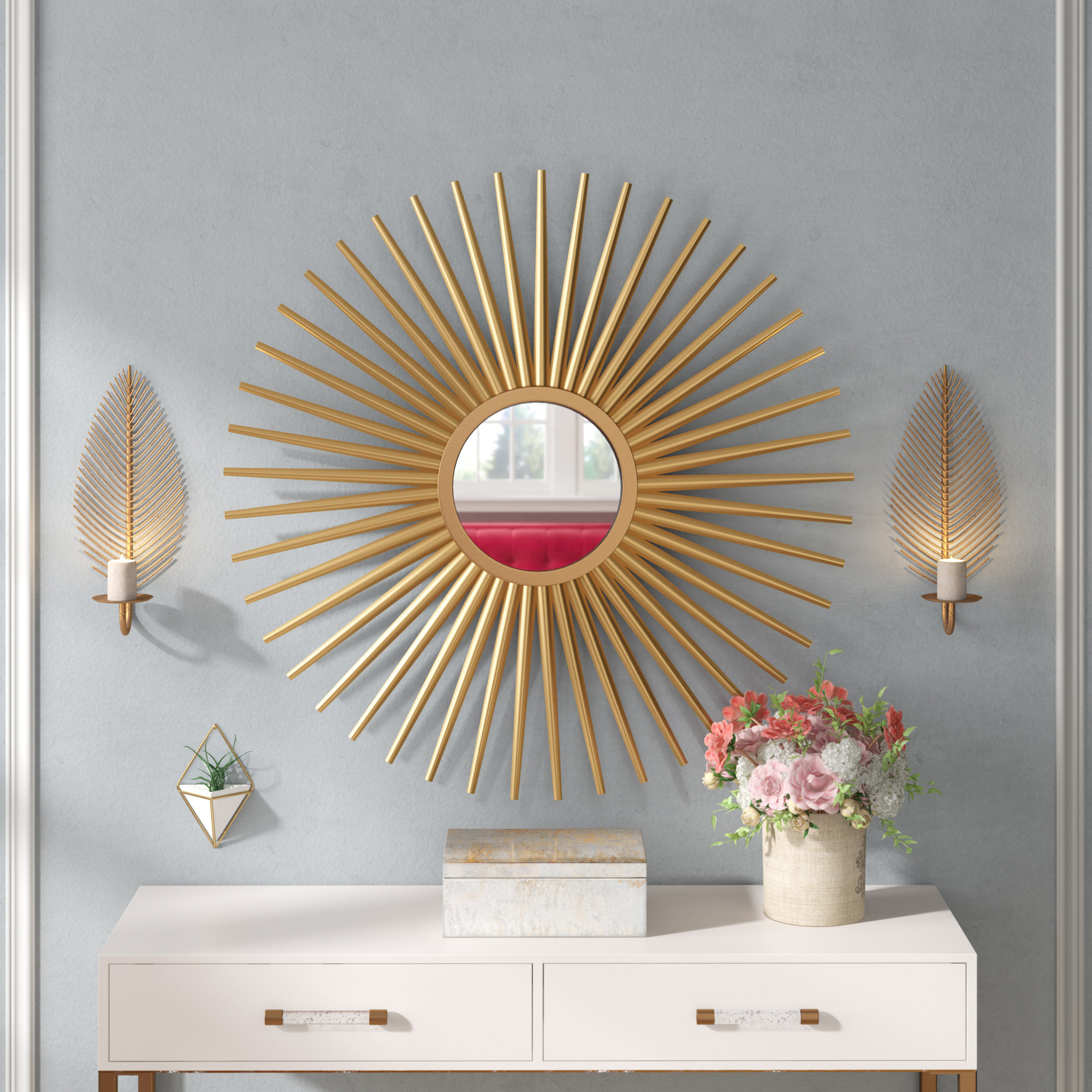 Sunburst Wall Mirror For Dandre Wall Mirrors (Image 18 of 20)