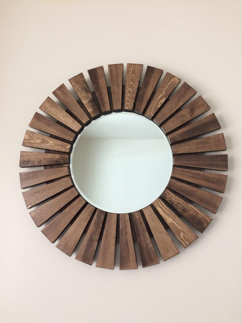 """Sunburst Wall Mirror, Round Mirror, Wooden Frame Mirror, Special Walnut  Color 23"""" Inside Deniece Sunburst Round Wall Mirrors (Image 14 of 20)"""