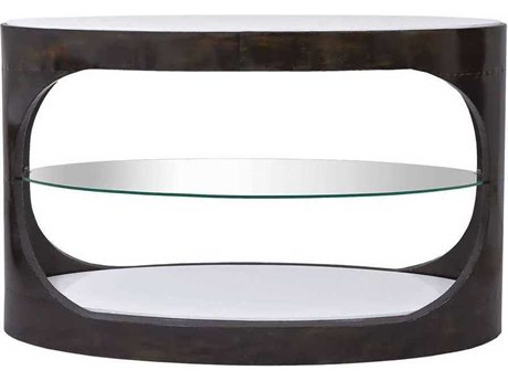 Sunpan Carmella Polished Smoked Oak / Stainless Steel 59 Throughout Carmella Satin Plated Coffee Tables (View 36 of 50)