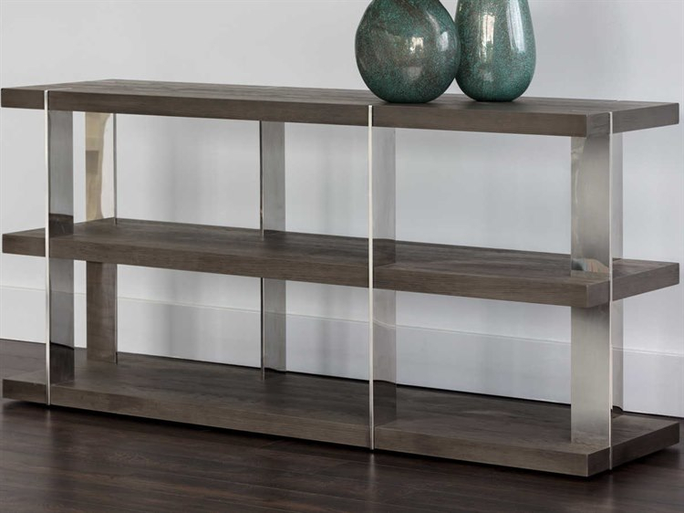 Sunpan Carmella Polished Smoked Oak / Stainless Steel 59'' Wide Rectangular Console Table Pertaining To Carmella Satin Plated Coffee Tables (View 12 of 50)
