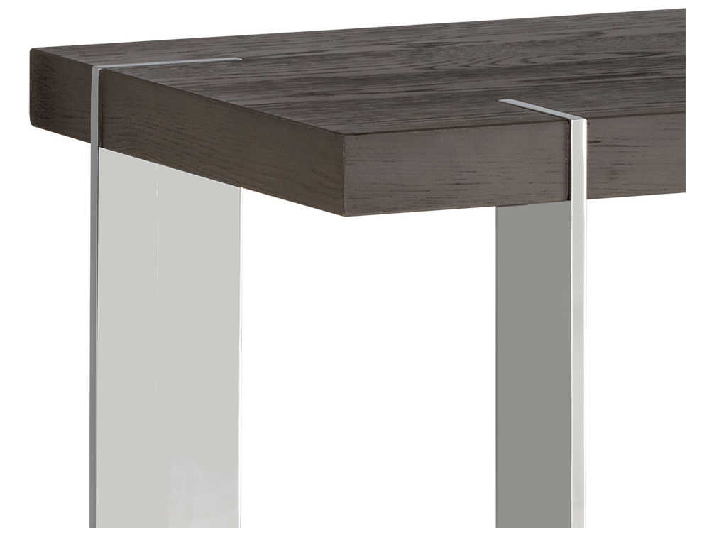 Sunpan Carmella Polished Smoked Oak / Stainless Steel 59'' Wide Rectangular Console Table With Regard To Carmella Satin Plated Coffee Tables (View 18 of 50)