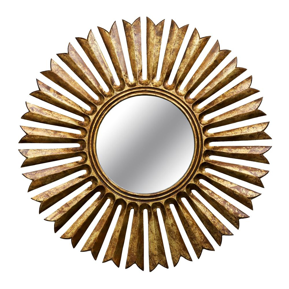 Sunray Round Sunburst Antique Gold Wall Mirror Inside Sun Shaped Wall Mirrors (Image 19 of 20)
