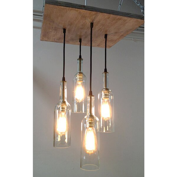 , Suspended Mount 4 Clear Wine Bottle Chandelier Intended For Destrey 3 Light Lantern Square/rectangle Pendants (View 17 of 20)