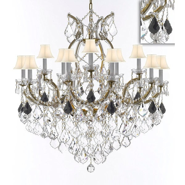 Swarovski Crystal Trimmed Maria Theresa Chandelier Dressed With Jet Black Crystal With White Shades With Thresa 5 Light Shaded Chandeliers (View 14 of 20)
