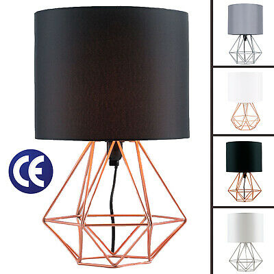Table Lamp 40Cm Geometric Drum Shade Light Modern Lampshade Lounge Bedside  Lamps | Ebay Inside Akash Industrial Vintage 1 Light Geometric Pendants (Image 19 of 25)