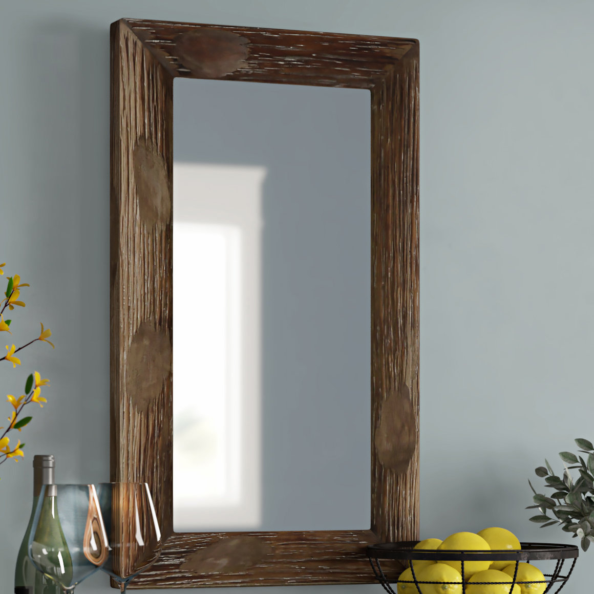 Tahara Rustic Wall Mirror For Longwood Rustic Beveled Accent Mirrors (Image 15 of 20)