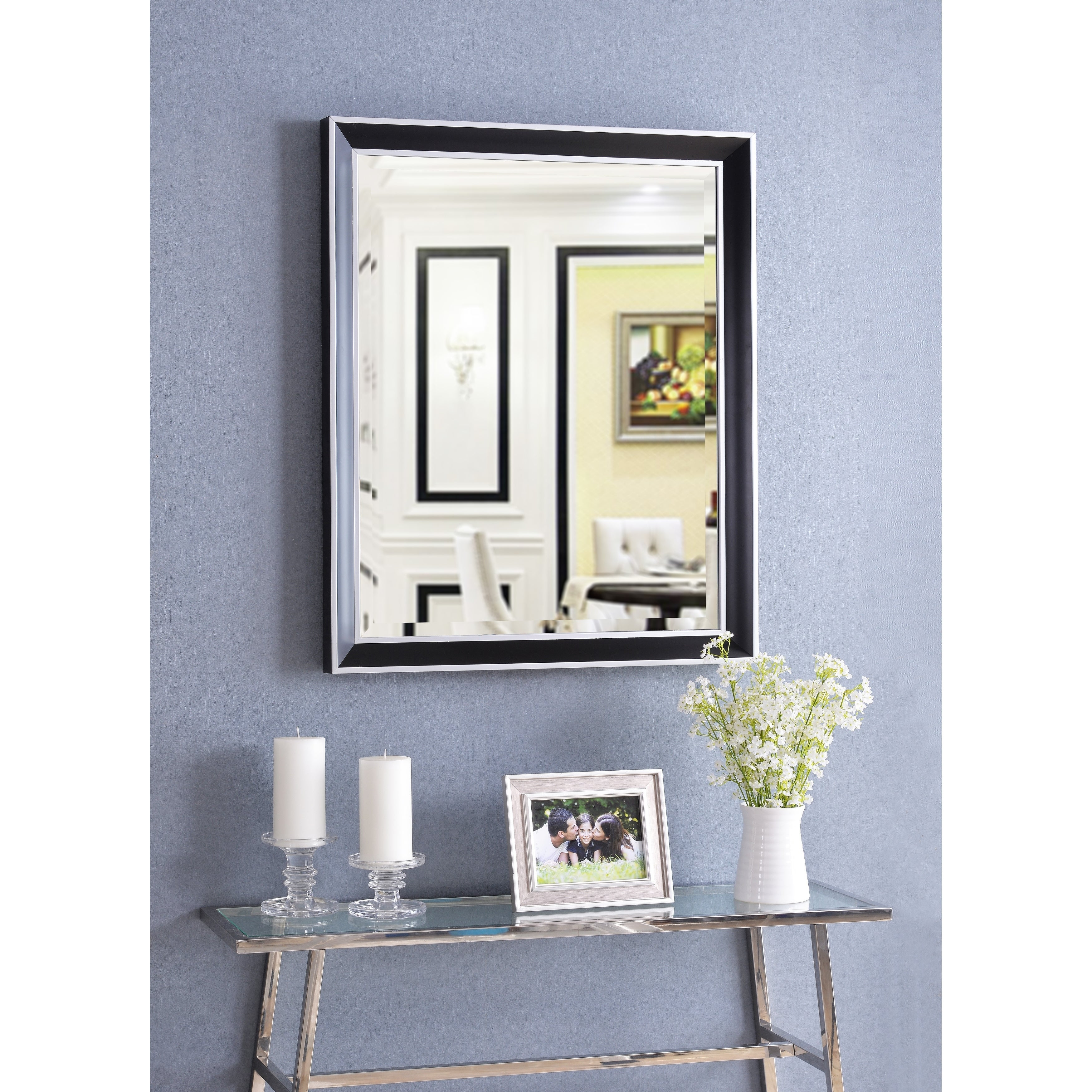 """Tanner 32"""" Wall Mirror – Black With Polished Silver For Tanner Accent Mirrors (View 19 of 20)"""