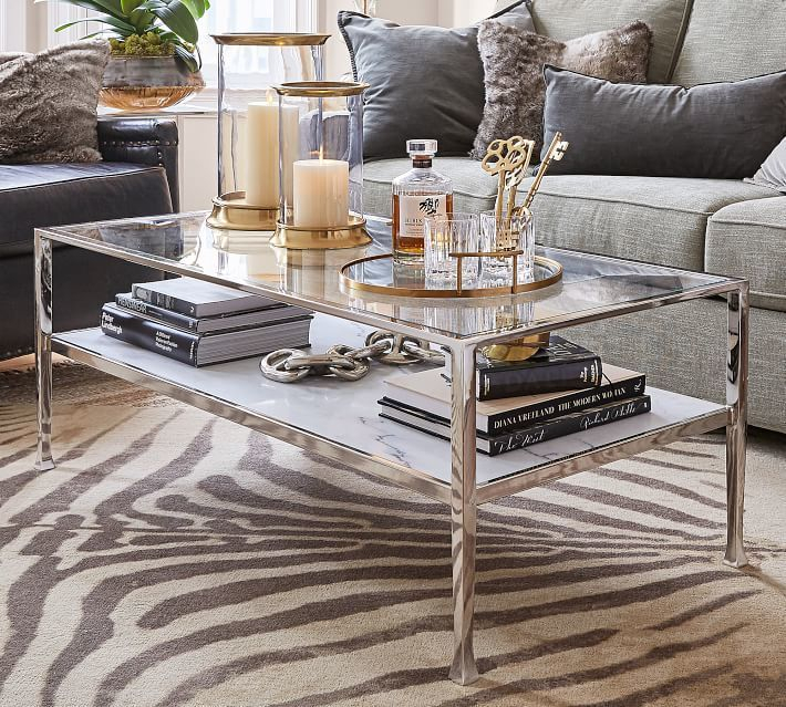 Tanner Marble Rectangular Coffee Table | House Living Within Strick & Bolton Florence Chrome Coffee Tables (View 8 of 25)