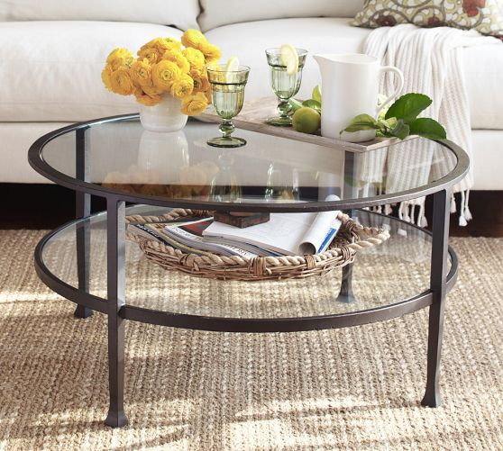 Tanner Round Coffee Table | Project Way To The River Throughout Carbon Loft Heimlich Metal Glass Rectangle Coffee Tables (View 13 of 25)