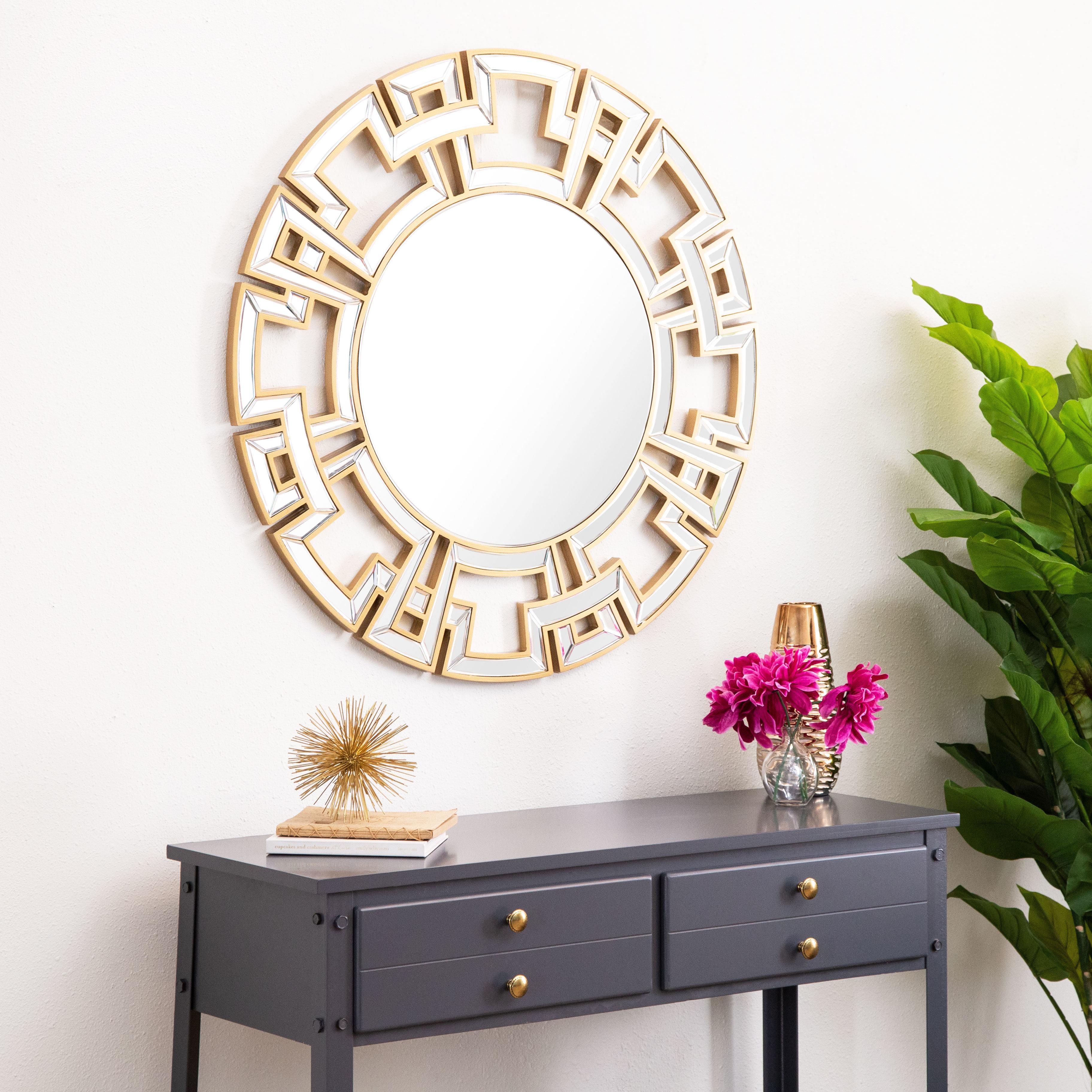 Tata Openwork Round Wall Mirror Regarding Deniece Sunburst Round Wall Mirrors (Image 15 of 20)