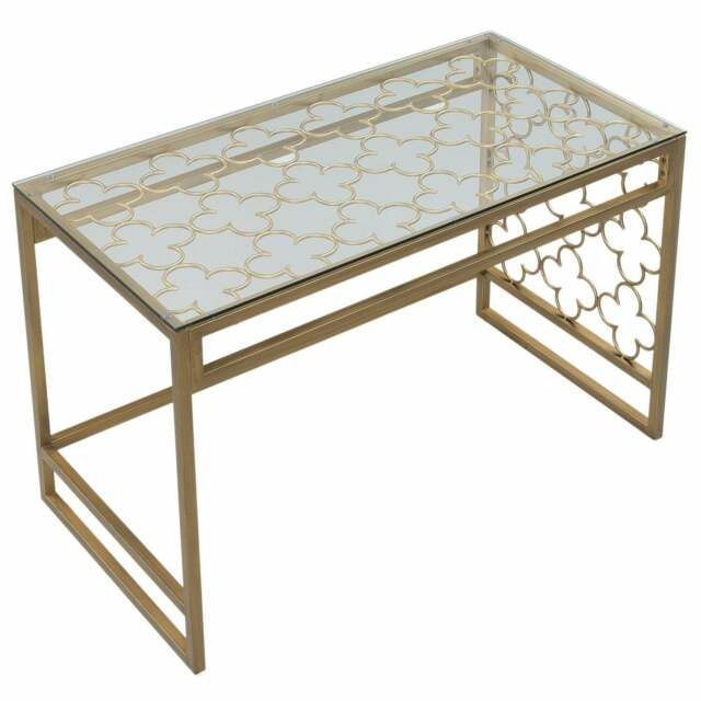 The Curated Nomad Quatrefoil Goldtone Metal And Glass Writing Desk For The Curated Nomad Quatrefoil Goldtone Metal And Glass Coffee Tables (View 10 of 50)