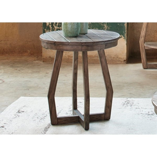 The Gray Barn Rosings Park Gray Wash Round Chair Side Table Intended For The Gray Barn Rosings Park Grey Wash Cocktail Tables (View 4 of 25)