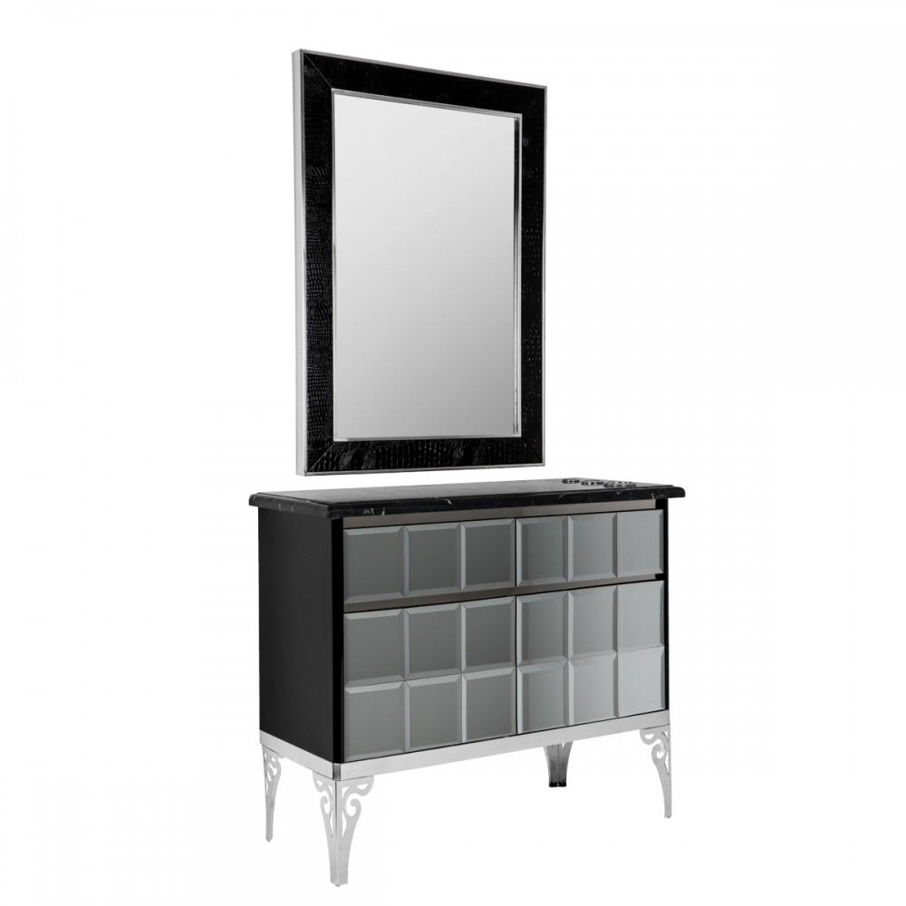 The Mythos Styling Station In Black Throughout Minerva Accent Mirrors (View 20 of 20)