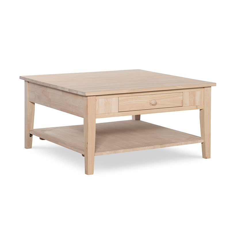 The Whitewood Spencer Square Coffee Table Is Solid Wood With Drawers (View 7 of 25)